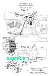 Click here to enlarge image and see more about item PAT0215AA9: Patent Art: 1930s HARLEY DAVIDSON Motorcycle - matted