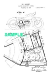 Click here to enlarge image and see more about item PAT0215BB5: Patent Art: 1930s HARLEY DAVIDSON Motorcycle - matted