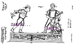 Click here to enlarge image and see more about item PAT0807A3-2006: Patent Art: 1880s BLACK BASEBALL THEME Mechanical BANK