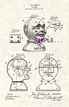 Click here to enlarge image and see more about item PAT0807A5-2006: Patent Art: 1915 BILL E. GRIN Clown Mechanical BANK