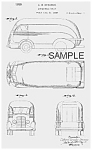 Click here to enlarge image and see more about item PAT0811AA6X: Patent Art:1930s Brooks Stevens STREAMLINE TRUCK-Matted