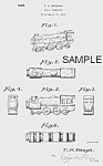 Click here to enlarge image and see more about item PAT0815AA7: Patent Art: 1930s TRAIN Candy Container - Matted