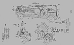 Click here to enlarge image and see more about item PAT0820CC5E: Patent Art: 1920s KEYSTONE Toy FIRE TRUCK - matted