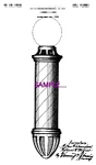 Patent Art: 1920s Barber Shop BARBER POLE C - 5x7