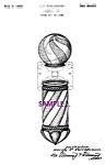 Patent Art: 1930s Barber Shop BARBER POLE - 5x7