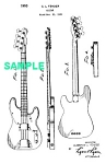 Click here to enlarge image and see more about item PAT1005AA2E: Patent Art: 1953 FENDER PRECISION BASS Guitar - matted