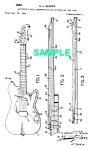 Click here to enlarge image and see more about item PAT1005CC9E: Patent Art: 1964 FENDER Guitar Adjustable Neck - matted