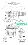Click here to enlarge image and see more about item PAT1005DD1E: Patent Art: 1956 FENDER Guitar Tremelo Device - matted