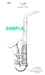 Click here to enlarge image and see more about item PAT1005EE1E: Patent Art: 1930s Loomis CONN SAXOPHONE - matted