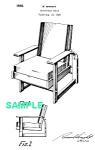 Click here to enlarge image and see more about item PAT1012AA9X: Patent Art: 1930s RUSSEL WRIGHT Adjustable Chair-Matted