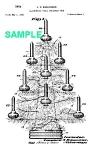 Click here to enlarge image and see more about item PAT1012CC5E: Patent Art: 1950s BUBBLING Christmas LIGHT Tree -Matted