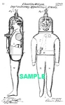 Click here to enlarge image and see more about item PAT1018AA6E: Patent Art: 1870s DIVING SUIT - Matted Print