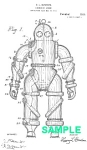 Click here to enlarge image and see more about item PAT1018AA8E: Patent Art: 1910s DIVING SUIT - Matted Print