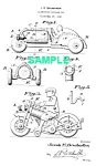 Click here to enlarge image and see more about item PAT1025AA10E: Patent Art: 1930s HUBLEY TOY MOTORCYCLE-matted