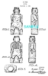Click here to enlarge image and see more about item PAT1104A6: Patent Art: 1950s ROBOT FIGURAL Bottle - matted