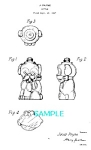 Click here to enlarge image and see more about item PAT1104B1: Patent Art: 1940s PUPPY FIGURAL BOTTLE-matted