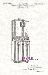 Click here to enlarge image and see more about item PAT1109A5: Patent Art: 1940s Art Deco CIGARETTE VENDING MACHINE