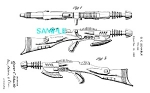 Click here to enlarge image and see more about item PAT1113A1: Patent Art: 1950s PYROTOMIC DISINTEGRATOR Rifle -matted