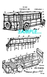 Click here to enlarge image and see more about item PAT1127BB5: Patent Art: 1934 TRAVEL BUS - Matted Print