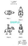 Click here to enlarge image and see more about item PAT1225BB7: Patent Art: 1950s Burro RAMP WALKER TOY - matted