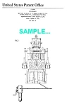 Click here to enlarge image and see more about item PAT1225CC8: Patent Art: 1950s Ideal ROBERT Toy ROBOT - matted