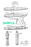 Click here to enlarge image and see more about item PAT1227AA3: Patent Art: 1950s ATOMIC FLASH Tin Litho Ray Gun