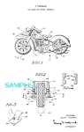 Click here to enlarge image and see more about item PAT1228AB8: Patent Art: 1950s Thomas TOY MOTORCYCLE - matted