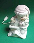 Click here to enlarge image and see more about item PO0721A1-2006: PRECIOUS MOMENTS Large NIGHT LIGHT Dressed as SANTA