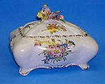 Click here to enlarge image and see more about item POT0515AA4: FAB Vint. Porcelain BUTTERFLY VANITY BOX