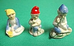 Click here to enlarge image and see more about item POT0722A1-2006: Set of 3 VINTAGE PORCELAIN GNOMES - Mint