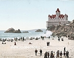 Click here to enlarge image and see more about item PR0508C6-2007: c.1902 SAN FRANCISCO Cliff House-Beach Photo-8x10