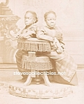 Click here to enlarge image and see more about item PR0602B5-2007: c.1860 SIAMESE TWINS Side Show - Circus Photo