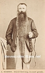 c.1875 MAN with 8 FOOT BEARD Side Show - Circus Photo