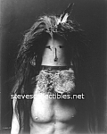 Click here to enlarge image and see more about item PR0821B1-2007: c.1905 Barechested Navajo Man Wearing Mask Photo - 8x10