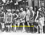 Click here to enlarge image and see more about item PR1102A1-2007: c.1920 WOMEN Lined Up for BATHING BEAUTY Contest Photo