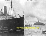 Click here to enlarge image and see more about item PR1102B5-2007: 1914 LUSITANIA in NYC with Tugs PHOTO - 8x10
