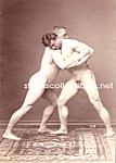 Click here to enlarge image and see more about item PR1104A1-2008: c.1900 NUDE MALE WRESTLING Wrestlers Photo - matted