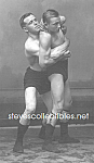 Click here to enlarge image and see more about item PR1109A2-2008: c.1913 Hot MALE WRESTLING HOLD Wrestlers Photo - matted