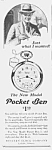 Click here to enlarge image and see more about item PW0526AA3: 1927 POCKET BEN Westclox Watch Ad