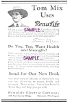 Click here to enlarge image and see more about item QU1118A1-2006: 1922-23 RENULIFE Violet Ray - TOM MIX & Patent Art