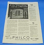 Click here to enlarge image and see more about item RA0101A2: 1933 PHILCO TOMBSTONE RADIO Magazine Ad