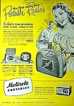 Click here to enlarge image and see more about item RA0608A: 1950s Portable MOTOROLA RADIOS Ad Cool!