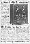 Click here to enlarge image and see more about item RA0621AA1: 1923 AIR-WAY 4 Tube Set RADIO Mag. Ad