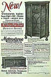 Click here to enlarge image and see more about item RA1219A2: 1928 METRODYNE WOODEN RADIO Mag. Ad