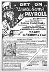 Click here to enlarge image and see more about item RR0323AA1: 1927 RAILWAY POSTAL CLERK Ad - UNCLE SAM