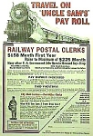 Click here to enlarge image and see more about item RR1103A1: 1928 RAILWAY POSTAL CLERK Railroad Ad