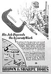 Click here to enlarge image and see more about item ST0830B5: 1927 BROWN & SHARPE Tool Ad/MICROMETER