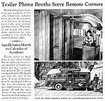 Click here to enlarge image and see more about item TEL0122A1: 1940 TRAILER PHONE BOOTHS ON REMOTE CORNERS Mag Article