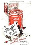 Click here to enlarge image and see more about item TO0122A4: 1939 VELVET TOBACCO TIN Color Christmas Ad