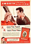 Click here to enlarge image and see more about item TO0122A6: 1949 PRINCE ALBERT TOBACCO TIN Color Ski Theme Ad